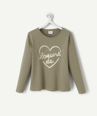 Tee-shirt radius - KHAKI T-SHIRT IN ORGANIC COTTON WITH A SPARKLING MESSAGE