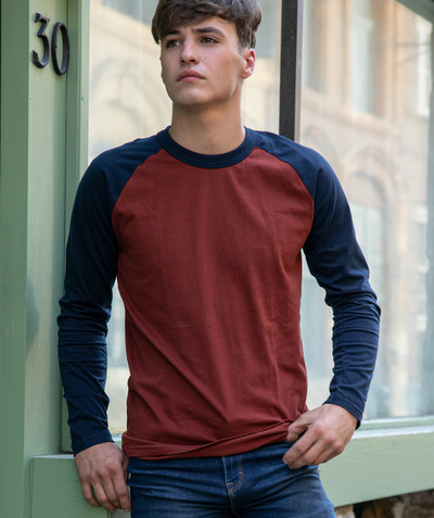 Teen Boy radius - NAVY BLUE AND RED T-SHIRT IN ORGANIC COTTON