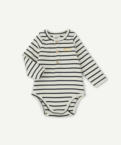 All collection radius - 2-IN-1 T-SHIRT BODY, RIBBED AND STRIPED, IN ORGANIC COTTON