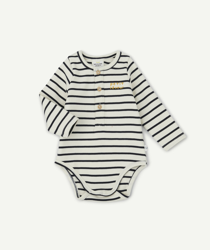 Clothing radius - 2-IN-1 T-SHIRT BODY, RIBBED AND STRIPED, IN ORGANIC COTTON