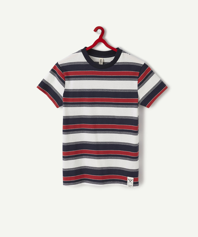 T-shirt radius - RED, WHITE AND NAVY BLUE STRIPED T-SHIRT IN ORGANIC COTTON