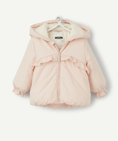 Coat - Padded jacket - Jacket radius - PINK SHERPA-LINED PADDED JACKET WITH FRILLS