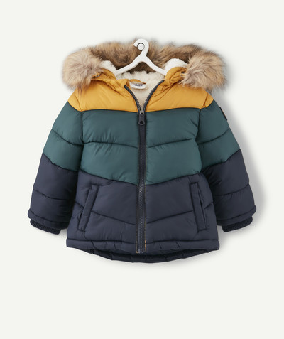 All collection radius - WATER-REPELLENT YELLOW, NAVY BLUE AND GREEN PADDED JACKET