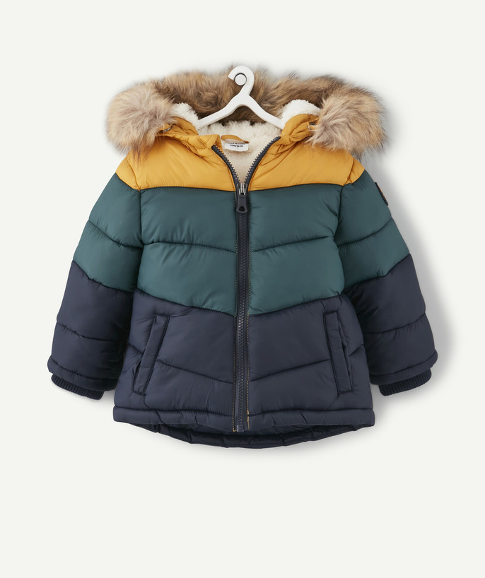 Coat - Padded Jacket - Jacket radius - WATER-REPELLENT YELLOW, NAVY BLUE AND GREEN PADDED JACKET