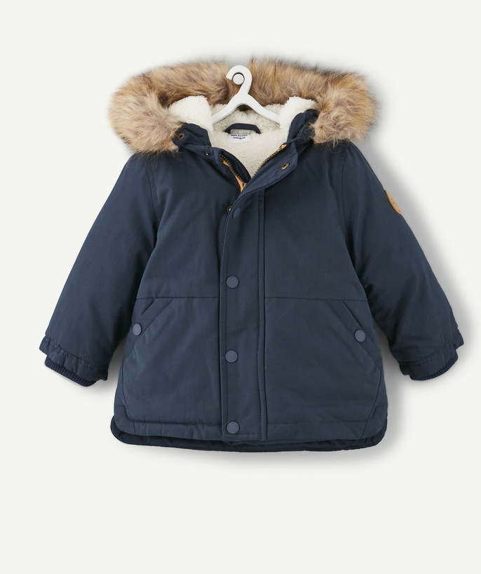 Coat - Padded Jacket - Jacket radius - SHERPA-LINED NAVY BLUE PARKA