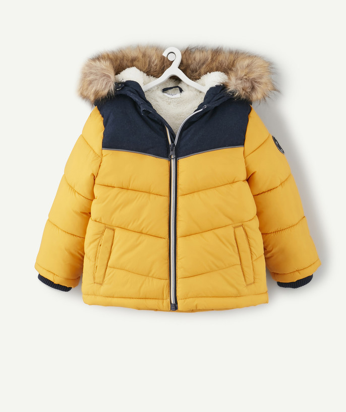 Coat - Padded Jacket - Jacket radius - NAVY BLUE AND YELLOW PADDED JACKET IN TWO MATERIALS