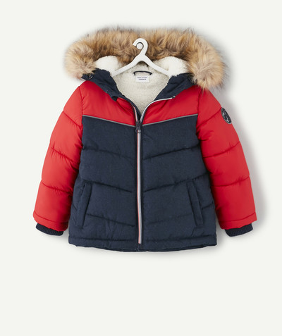 All collection radius - NAVY BLUE AND RED PADDED JACKET IN TWO MATERIALS