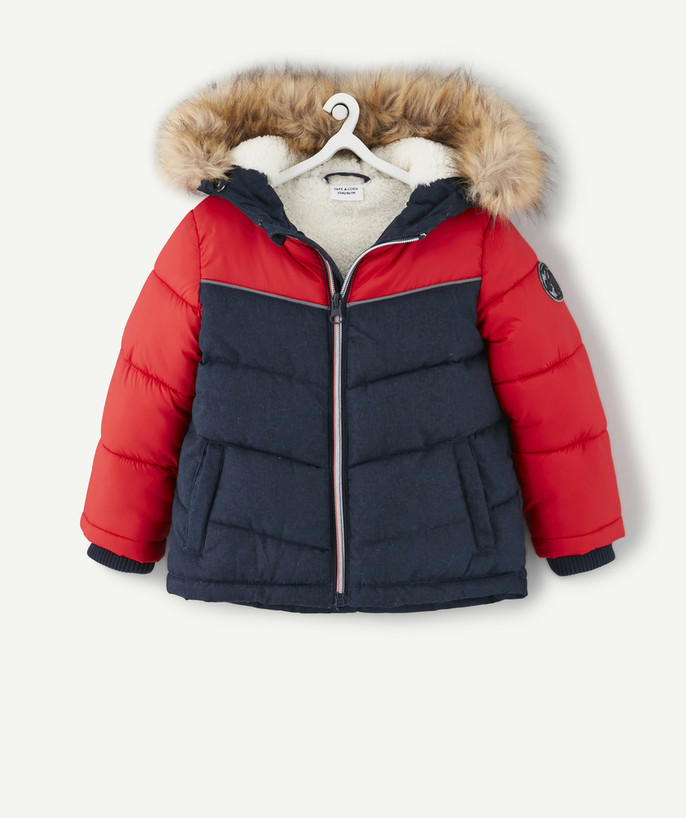 Coat - Padded Jacket - Jacket radius - NAVY BLUE AND RED PADDED JACKET IN TWO MATERIALS