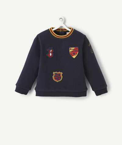 All collection radius - NAVY BLUE SWEATSHIRT WITH EMBROIDERED PATCHES