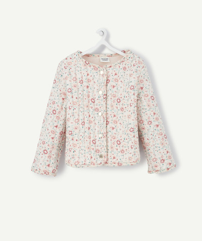 Collection ECODESIGN Rayon - LA VESTE REMBOURRÉE FLEURIE ROSE