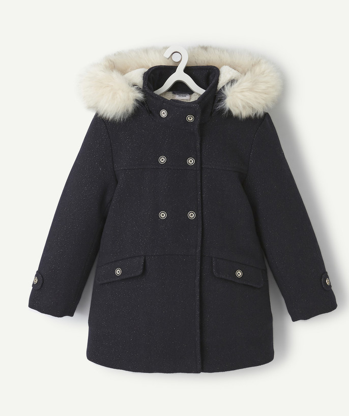 Coat - Padded jacket - Jacket radius - NAVY BLUE COAT WITH SEQUINS