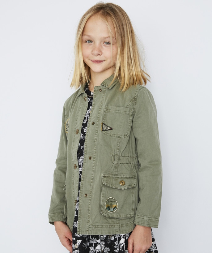 Coat - Padded jacket - Jacket radius - KHAKI JACKET WITH EMBROIDERED PATCHES