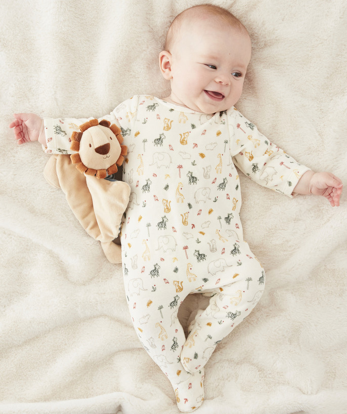 Sleepsuit - Pyjamas radius - BEIGE SLEEPSUIT IN PRINTED ORGANIC COTTON VELVET