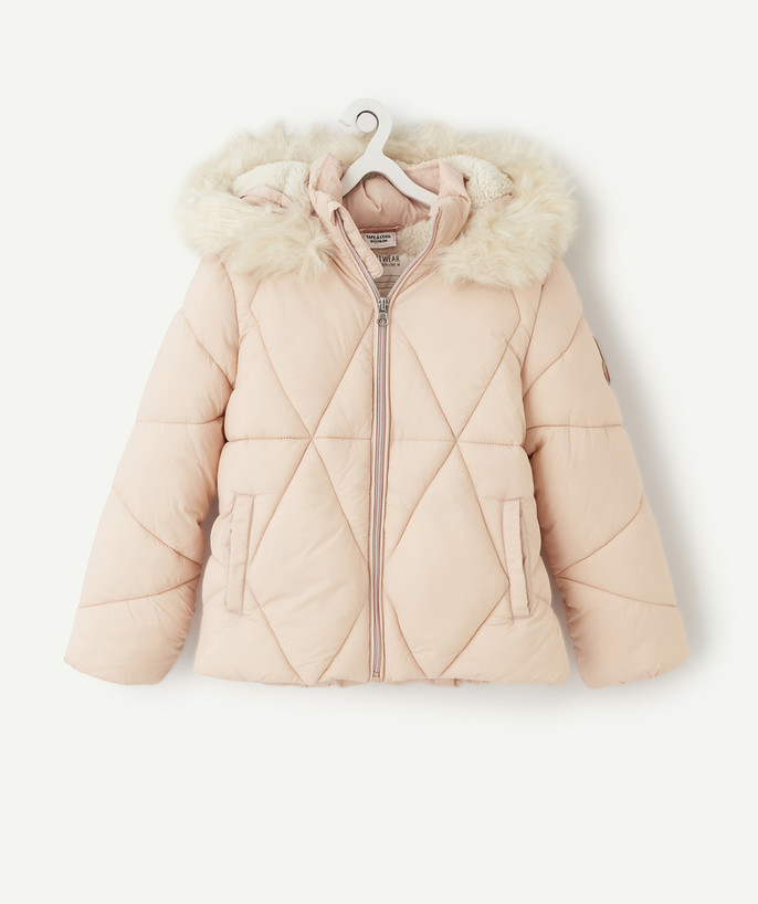 Coat - Padded jacket - Jacket radius - PALE PINK SHERPA-LINED PADDED JACKET