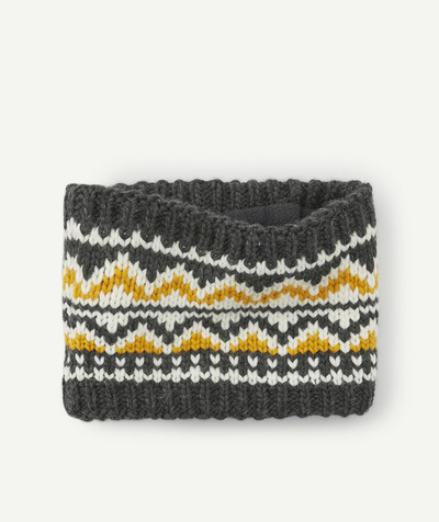 All collection radius - YELLOW, WHITE AND GREY KNITTED SNOOD