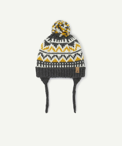 Accessories radius - YELLOW, WHITE AND GREY KNITTED HAT