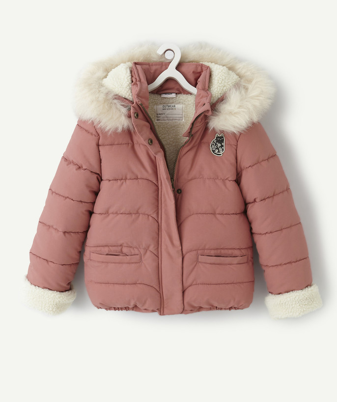 Coat - Padded jacket - Jacket radius - PINK SHERPA-LINED PADDED JACKET