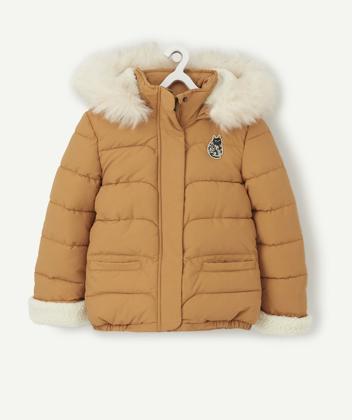 Coat - Padded jacket - Jacket radius - CAMEL PADDED JACKET LINED IN SHERPA