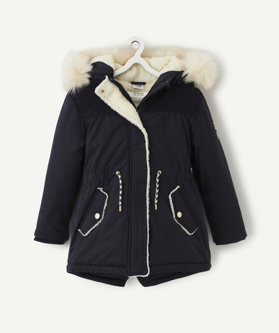 Outlet radius - NAVY BLUE SHERPA-LINED PARKA