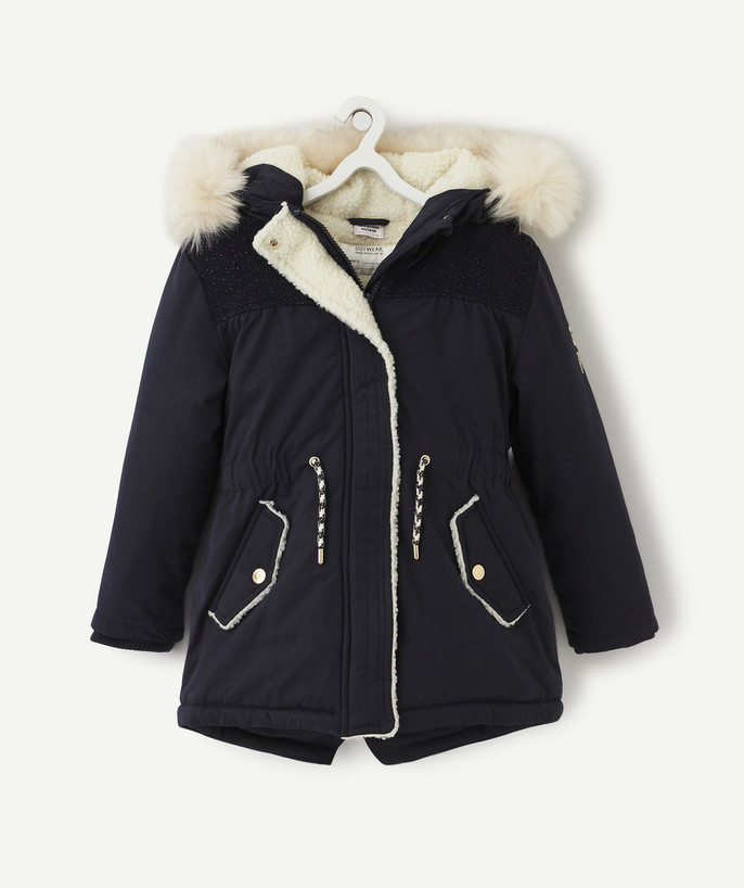 Coat - Padded jacket - Jacket radius - NAVY BLUE SHERPA-LINED PARKA
