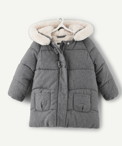 Coat - Padded jacket - Jacket radius - GREY PADDED JACKET WITH STITCHED BOWS