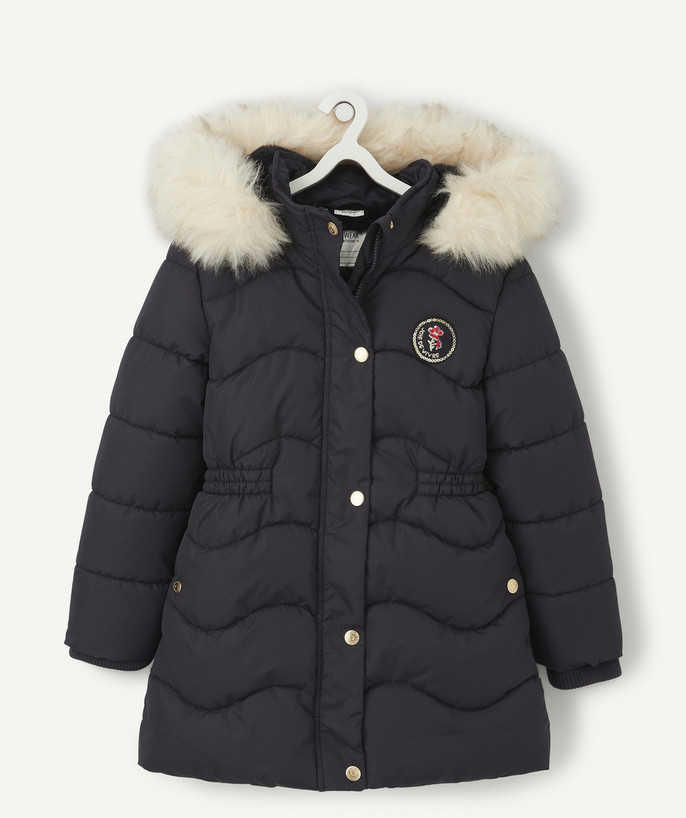 Coat - Padded jacket - Jacket radius - NAVY BLUE PADDED JACKET WITH SEQUINS