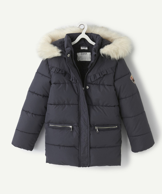 Coat - Padded jacket - Jacket radius - SPARKLY NAVY BLUE PADDED JACKET LINED IN SHERPA