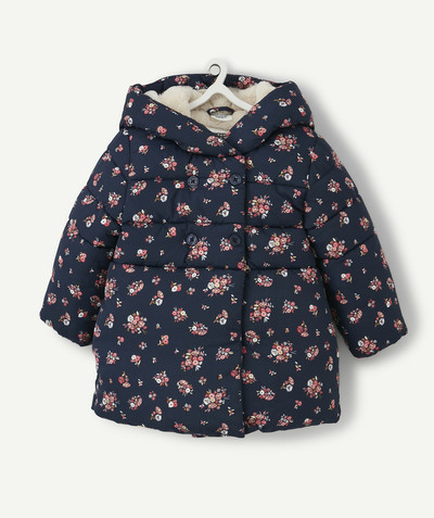 Coat - Padded jacket - Jacket radius - NAVY BLUE FLOWER-PATTERNED LINED PADDED JACKET