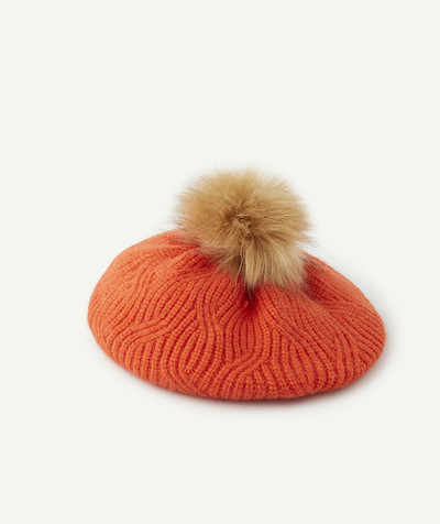 All Collection radius - ORANGE HAT WITH A POMPOM IN IMITATION FUR