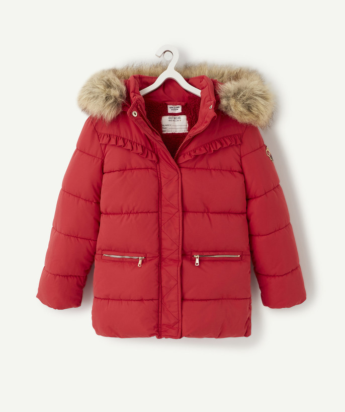 Coat - Padded jacket - Jacket radius - RASPBERRY WATER-REPELLENT PADDED JACKET LINED IN SHERPA