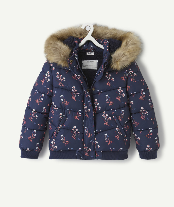 Coat - Padded jacket - Jacket radius - FLOWER-PATTERNED NAVY BLUE PADDED JACKET
