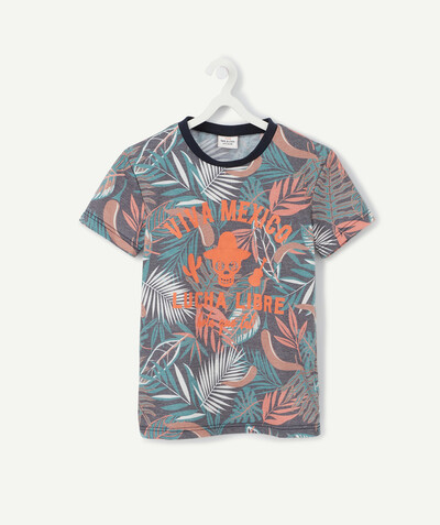 T-shirt  radius - FLOCKED T-SHIRT WITH A LEAF-PATTERN PRINT