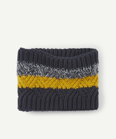 All collection radius - NAVY BLUE AND MUSTARD SNOOD