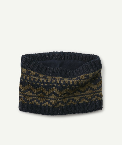 Accessories radius - NAVY BLUE AND KHAKI KNIT SNOOD