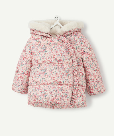 Coat - Padded jacket - Jacket radius - LINED AND WATER-REPELLENT FLOWER-PATTERNED PINK PADDED JACKET