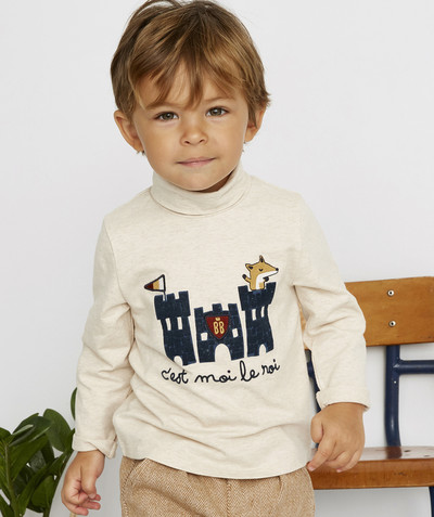 Roll-Neck-Jumper family - BEIGE MARL TURTLENECK IN ORGANIC COTTON WITH FELT