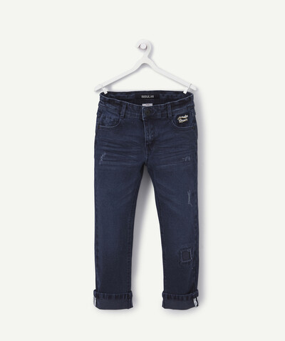 Outlet radius - STRAIGHT DARK BLUE JEANS WITH WORN PATCHES