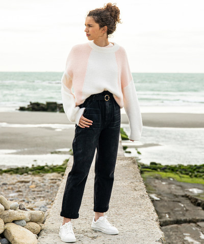 All Collection radius - BLACK MOM JEANS WITH A GATHERED WAIST