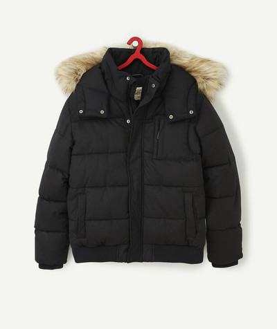 Teen Boy radius - BLACK PADDED JACKET WITH AN IMITATION FUR HOOD