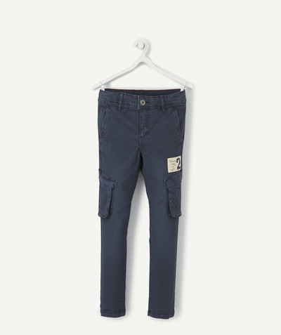 Trousers - Jogging pants radius - SKINNY INKY-BLUE TROUSERS WITH CARGO POCKETS