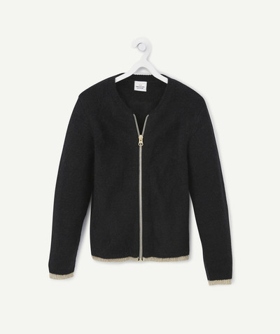 Knitwear radius - ZIPPED BLACK AND GOLDEN CARDIGAN
