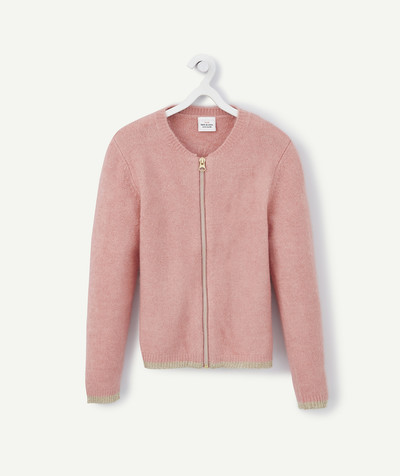 Basics radius - ZIPPED PINK AND GOLDEN CARDIGAN