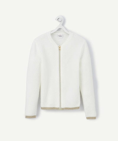 Knitwear radius - ZIPPED WHITE AND GOLDEN CARDIGAN