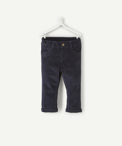 All collection radius - NAVY BLUE LINED TROUSERS IN CORDUROY
