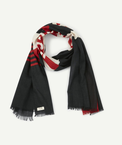 All collection radius - BLACK, WHITE AND RED SCARF IN ORGANIC COTTON