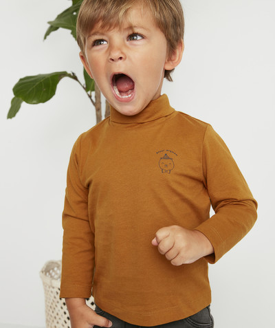 Roll-Neck-Jumper family - BROWN TURTLENECK WITH A FUN DESIGN