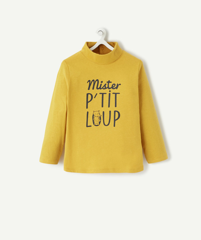 Roll-Neck-Jumper family - MUSTARD TURTLENECK WITH A MESSAGE