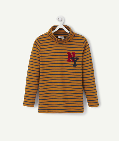 Roll-Neck-Jumper radius - CAMEL STRIPED TURTLENECK WITH A BOUCLE PATCH