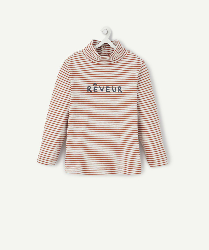 Roll-Neck-Jumper family - CAMEL STRIPED TURTLENECK WITH A PRINTED MESSAGE