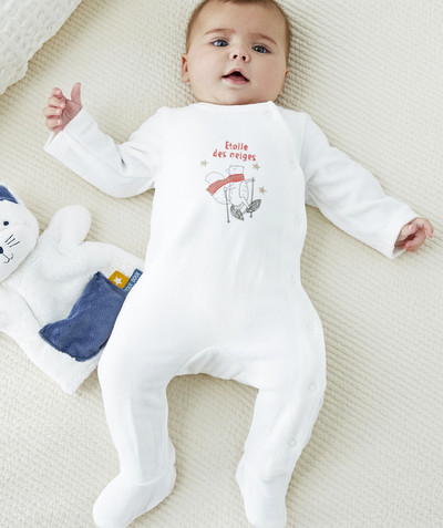 Essentials : 50% off 2nd item* family - WHITE SLEEPSUIT, EMBROIDERED AND PRINTED, IN ORGANIC COTTON
